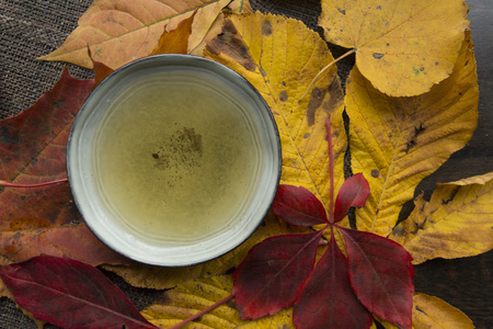 Autumn tea time still life top view closup Stock Photo - 89106108