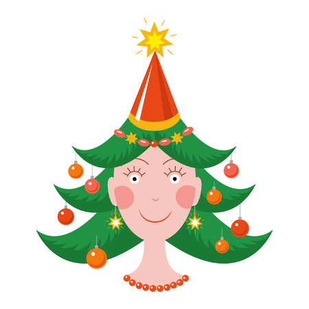 Happy girl in new year mood with a Christmas tree haircut Illustration