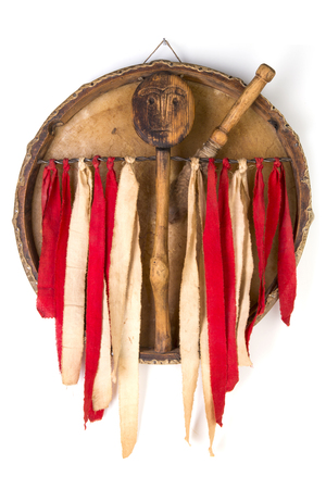 Ancient indian tambourine drum drumstick replica Stock Photo - 93865437