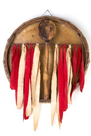 Ancient indian tambourine drum drumstick replica Stock Photo - 93944422