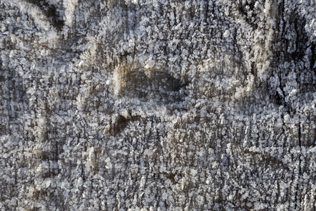 Beautiful frost crystals on wood close-up texture background Stock Photo - 94261033
