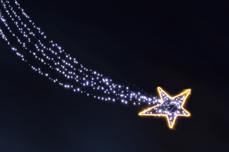 Lonely glowing in dhe dark garland light bulbs falling star isolated