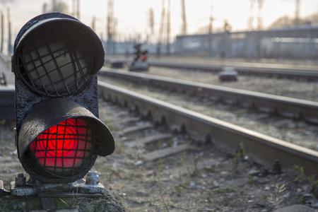 Railway bright red traffic light stop caution warning signal
