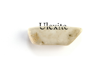 Unusual mineral ulexite or TV rock mineral with optical effect on white