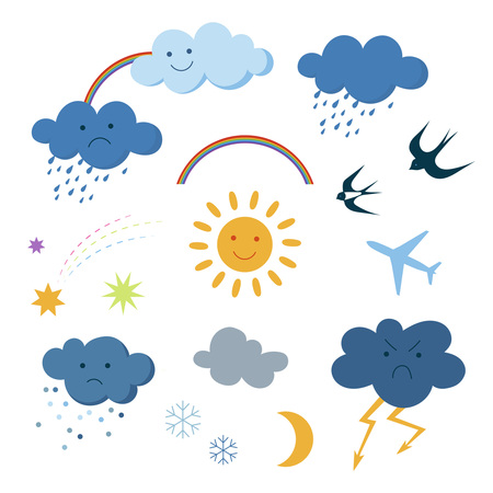 Cute cartoon sky objects weather symbols set clipart Illustration