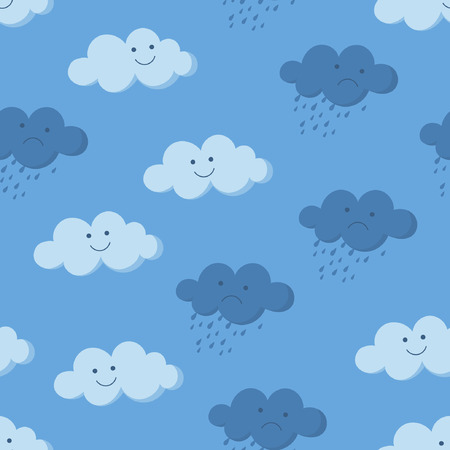 Cute smiling and crying rainy clouds in the sky seamless pattern