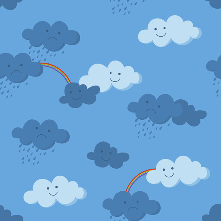 Cute smiling and crying clouds and rainbow in the sky seamless pattern