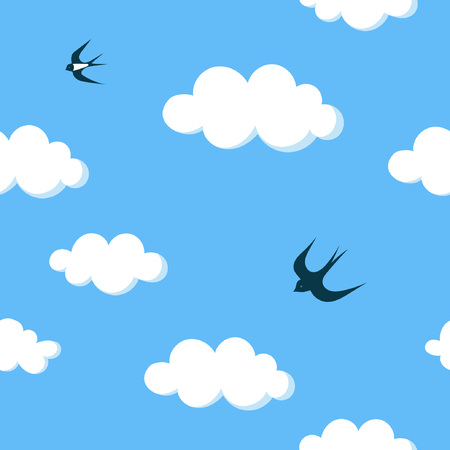 Flying swallows in the blue sky with white clouds seamless pattern Stock Vector - 98613977