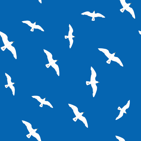 Beautiful flying seagulls in the blue sky seamless pattern Stock Vector - 98614005