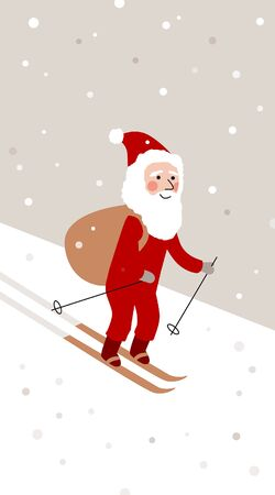 Simple New year Christmas greeting postcard with cute skiing Santa Illustration