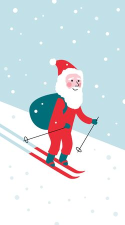Simple New year Christmas greeting postcard with cute skiing Santa Stock Vector - 137786883