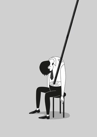 Burnout ivre surmené épuisé employé vide ou homme d'affaires isolé affiche en noir et blanc