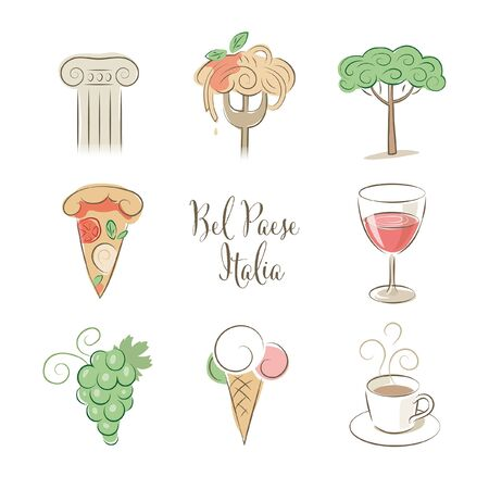 Elegant Italy symbols identity illustrations food set in pastel colors