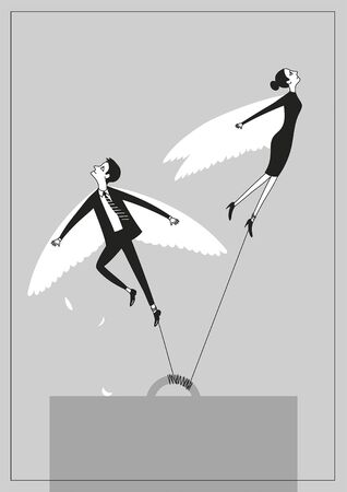 Desperate winged workers dreaming to break free and fly away poster