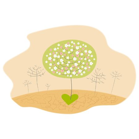 Miracle of healing love make bloom and brings spring and life brings life to the desert Stock Vector - 138459904