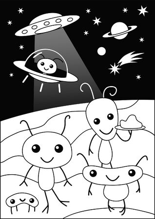 Cute Funny Alien Party Cartoon coloring page for Kids Party Stock Vector - 144777491