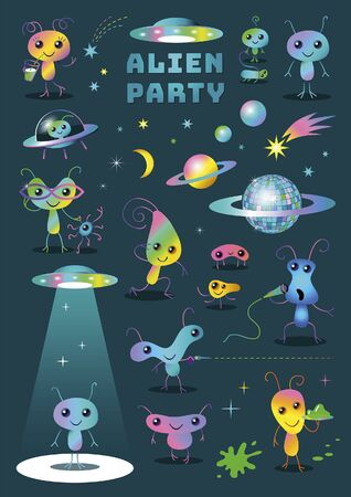 Cute Colorful Alien Party Cartoon Characters Set Clipart on Dark Background Illustration