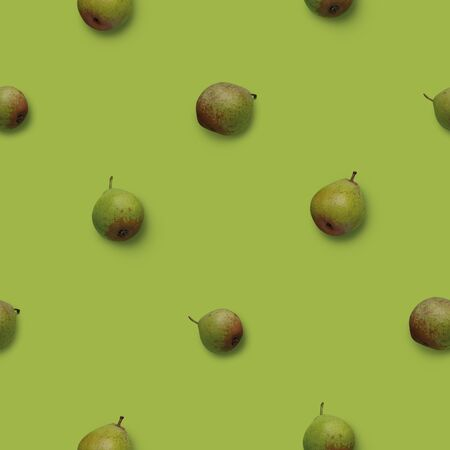 Seamless pattern with green pears Pyrus photos on green background