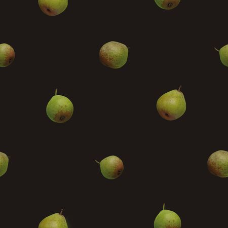 Photo seamless pattern with green pears photos on dark brown background