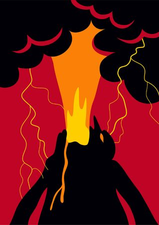 Poster with human emotion anger allegory in the form of a human volcano Illustration