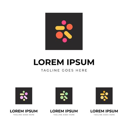 Set of logo identity for pharmacy with pastel colorful pills and capsules on dark square figure Stock Vector - 146778880