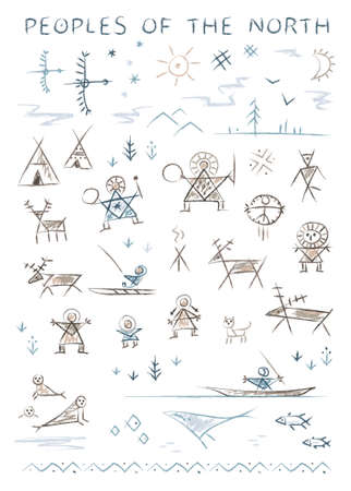 Stylized primitive ornamental depictions of the life of the inhabitants of the north