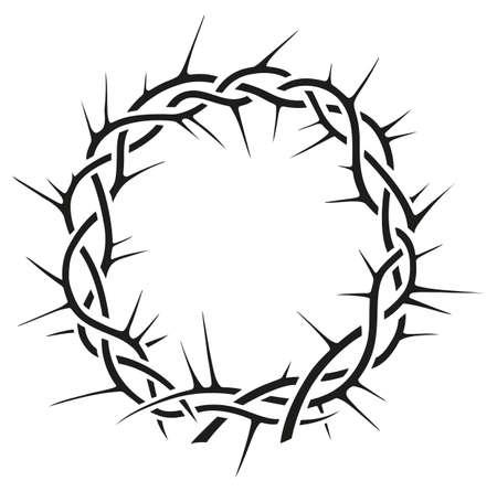 Beautiful elegant crown of thorns vector black and white illustration Illustration