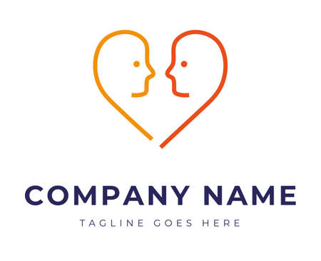 Set of logo identity with two faces in the shape of heart for couple therapy relationship problems