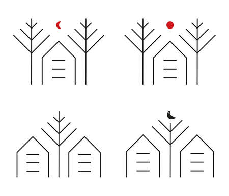 Simple House within the trees logo identity for green park residence