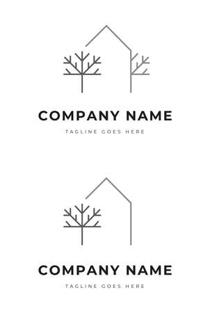 Set of Simple House within the trees logo identity for green park residence ornament