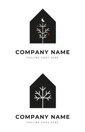 Set of Simple House with tree silhouette logo identity for park residence ornamental