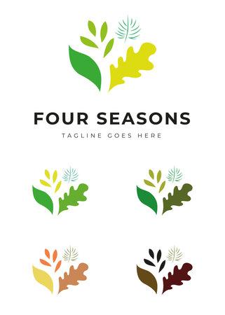 Beautiful plant tree garden park logo in four colors four seasons change identity Illustration