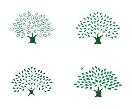 Set of beautiful four green mighty strong oak trees logo identity Illustration