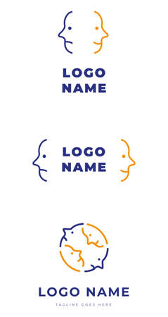 Set of logo identity with two different emotional faces for couple therapy relationship problems Illustration
