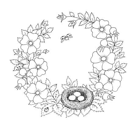 Summer or blooming rosehip with bird nest floral nostalgic elegant romantic old fashioned wreath contour coloring page