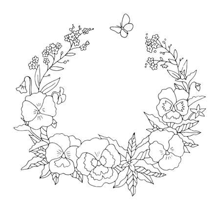 Summer or spring pansies floral nostalgic elegant romantic old fashioned wreath contour coloring page