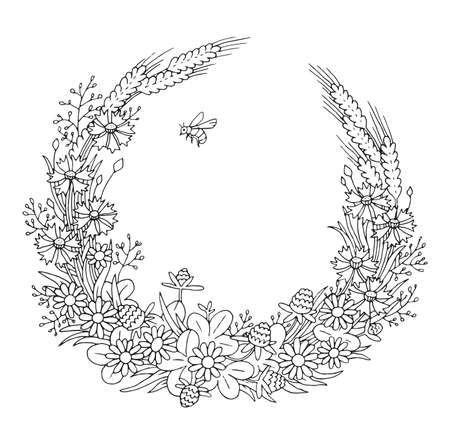 Summer cornflowers rye chamomile floral elegant romantic old fashioned wreath contour coloring page Illustration
