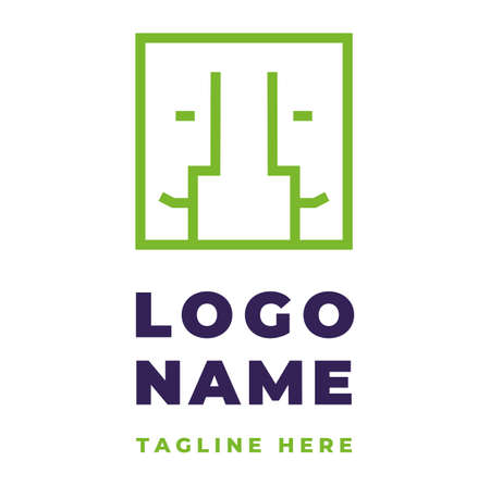 Two color logo identity with four emotional faces for group therapy solving relationship communication problems