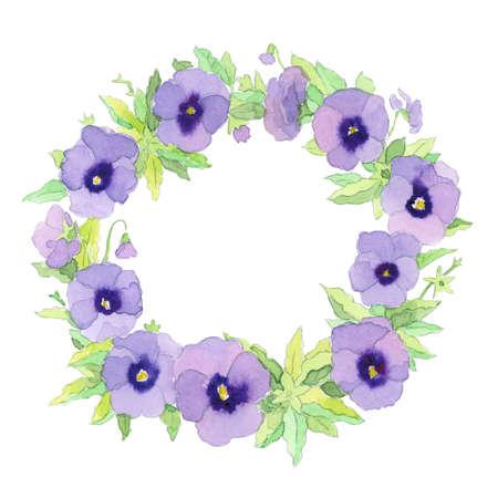 Graceful delicate watercolor purple garden pansy wreath frame