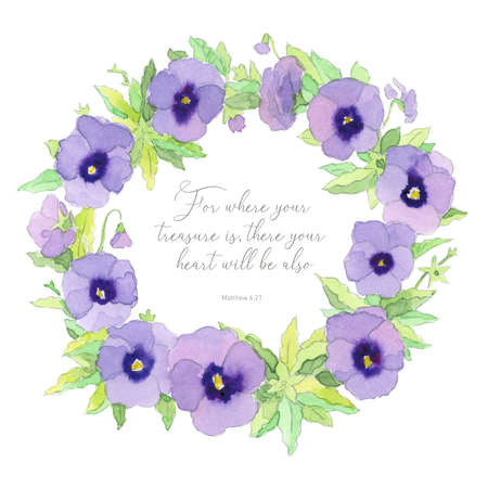 Beautiful elegant watercolor purple garden pansy wreath frame with inspiring Bible quote