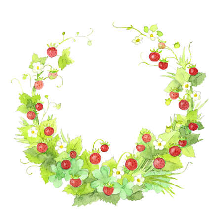 Colorful bright fresh watercolor wild strawberry wreath isolated on white