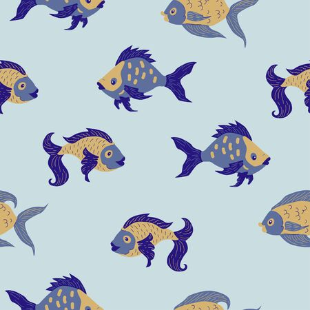 Seamless pattern of freshwater aquarium cartoon fishes. Vector illustration in sketch style. Design concept. Vettoriali