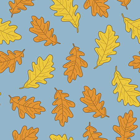 Vector illustration, set of bright realistic autumn oak leaves. Fall leaves background.
