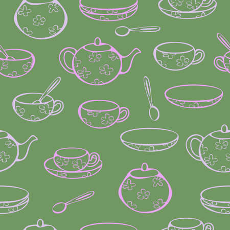 Vector seamless pattern of crockery for tea-drinking - cups, mugs, teapot, sugar bowl and lump sugar. Concept for tea store.