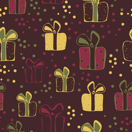 Vector seamless pattern with colorful gift boxes. Pattern for fabric print, wrapping paper design.