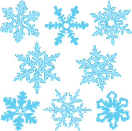 Vector set of blue snowflakes isolated on a white background. Collection of elements winter design. Eight showflakes of different shapes.