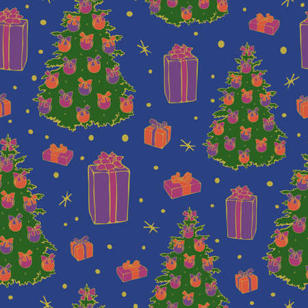 Vector seamless pattern of decorated Christmas trees, gift boxes, stars on blue Illustration