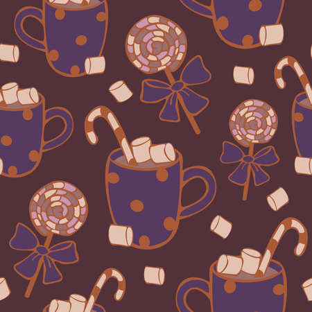 Vector seamless pattern hot drink with candies. Cocoa or coffee with lollipops pattern. Design concept for coffee shop. Ilustração