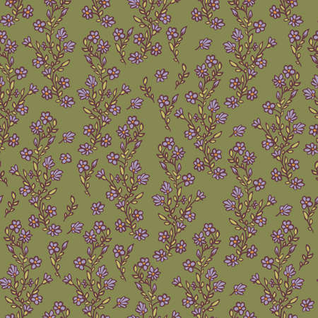 Vector seamless pattern of small blooming violet flowers. Abstract flowers wallpaper design. Ilustração