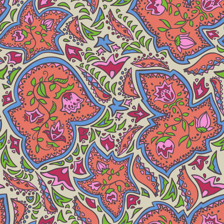 Vector seamless pattern decoration of rose flowers, leaves and abstract geometrical figures.